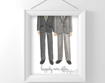 Happily Ever After, Gay Wedding Couple, Male, Love, art print, illustration, typography
