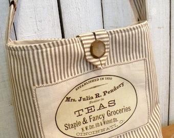 Market Tote vintage tea label ticking stripe Flea Market handbag RDT FVGteam ECS OFGteam SVFteam