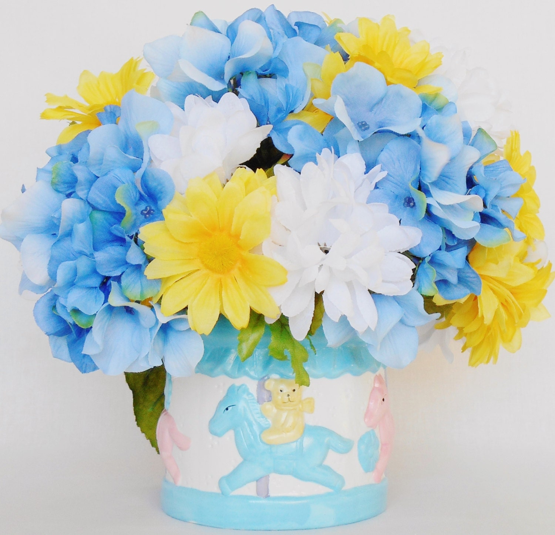 New baby arrangement white mums yellow daisies blue zoom mightylinksfo