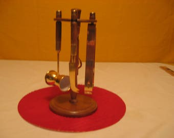 Vintage Bar Utensil Set with Wooden Stand and 4 Utensils for Serving beverages, Barware. FREE SHIPPING!