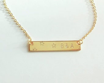 Personalized Star Bar Necklace / Initial Bar / Platename Necklace / Monogram Jewelry / Meaning Birthday Gift /  ID / JulenJewel / N268