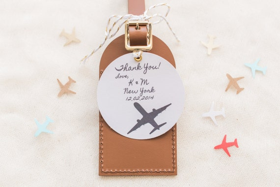 Wedding Favors - I\'ll Fly Away Leather Luggage Tag
