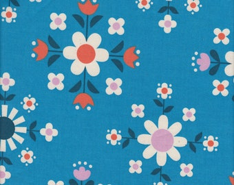 Cotton + Steel Kimberly Kight Welsummer Florametry in Bright Blue - Half Yard