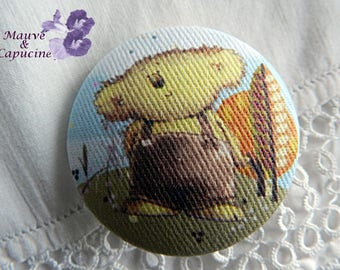 Button out of fabric, bear, 32 mm / 1.25 in
