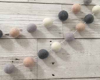 Martha felt ball garland in pink, grey and ivory - bunting, wall hanging, nursery decor