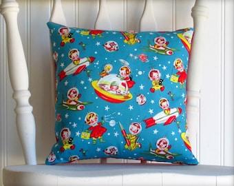 Astro Kids - Small Throw Pillow - Retro Rascals