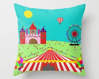 Circus pillow cover-Ferris wheel-Castle cushion-Nursery-Floor pillow-Kids pillow-Kids room decor-Etsy gifts-Modern pillow-16x16-18x18-20x20