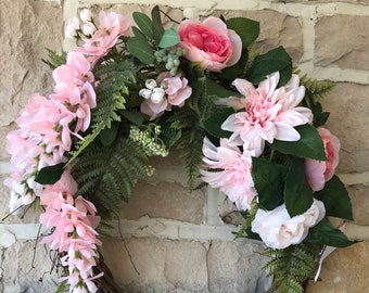 Pretty in Pink, Spring/Summer Wreath/Free Shipping!