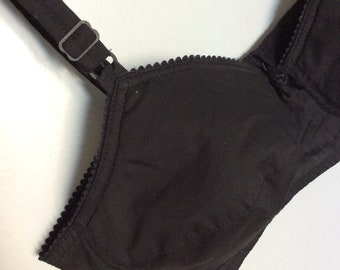 Vintage Black Cotton Bra Size 36
