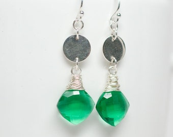 Green Hydroquartz Earrings, Sterling Silver Wrapped from a Sterling Silver disc