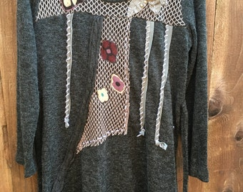 Woven grey dress M-L with patches, Up-cycled clothing, woman clothing