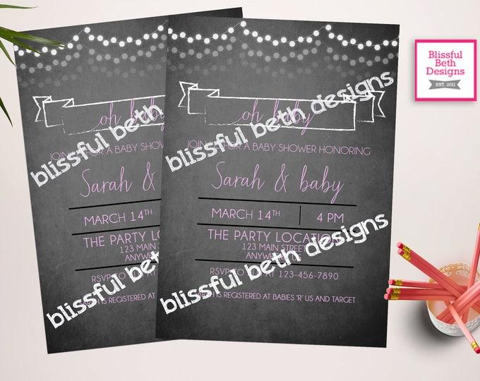 CHALK SHOWER INVITATION Chalk Printable Baby Shower Invitation, Chalk Baby Shower Invitation, Chalk Baby Shower, Chalk Shower, Baby Shower