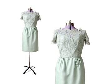 Green Vintage Dress, 1960s Dress, 60s Dress, Lace Dress, Vintage Clothing, Womens Dress, Size Medium Dress, Cocktail Dress, party dress
