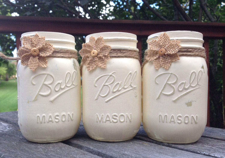 set of 3 pint size mason jars chalk painted annie. Black Bedroom Furniture Sets. Home Design Ideas