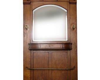 French Oak Porte-manteau with mirror 19 c.