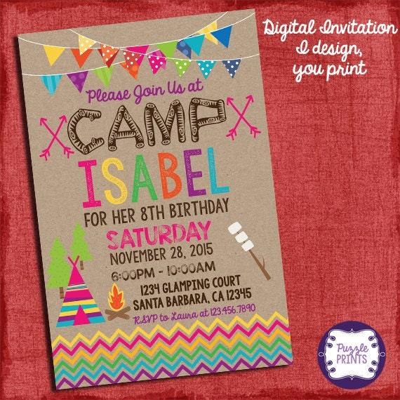 Camping invitation camping birthday invitation sleepover like this item filmwisefo Choice Image
