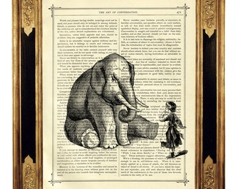 Elephant Picture little Girl Dictionary Art Nursery Gift Friendship - Vintage Victorian Book Page Art Print Steampunk