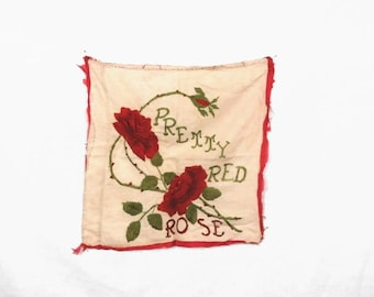 "Antique Victorian Sampler Pillow Top Embroidery ""Pretty Red Rose"" 18"" x 18"""