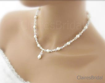 Bridal Necklace Pearl Earrings Wedding Jewelry Pearl and Crystal Necklace and Earrings
