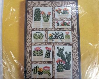 "Vintage Columbia Minerva Needlepoint Kit Cactus Garden 14""x 24"" 1975 ~ Free Domestic Shipping"