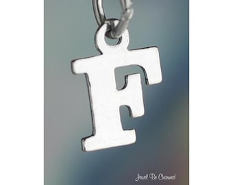 Sterling Silver Small Letter F Charm Initial Capital Letters Solid 925