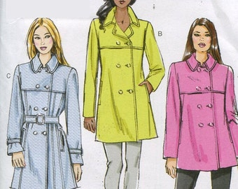 Vogue V8884 Misses Double Breasted Trench Coat and Belt Sewing Pattern Size 6 to 14 UNCUT