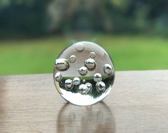 Clear bubble glass paper weight 8cm