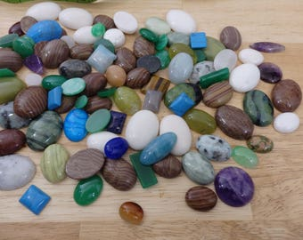 Wholesale Mixed Stone Cabs Cabochons Small to Med (agate, jasper, serpentine, quartz amethyst round heart crystal gemstone gems discount)