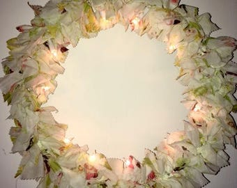 Nightlight circle ecru and floral cotton voile