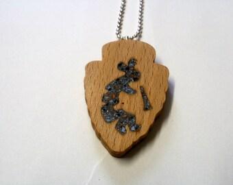 necklace kokopelli flute player wood scroll saw arrowhead