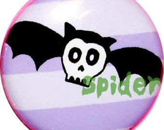 SkellyBat (TM)  1 inch buttons pins Cute gothic  accessories goth pins buttons bats Skeleton Bat