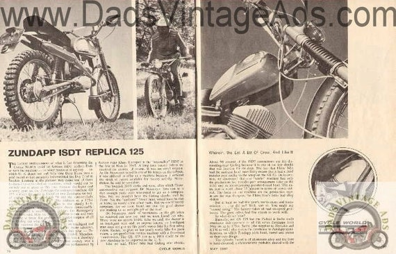 1967 Zundapp ISDT Replica 125 Motorcycle Trail Road Test Photo 4-Page Article #ncl25
