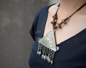 Tribal triangle pendant old Kashmiri necklace with lapis and dangle bells and ethnic patterning