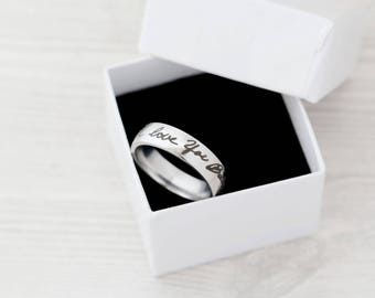6mm Wide Engraved Handwriting Ring - Handwriting - Father's Day - Anniversary - Engraved Jewelry - Handwriting Jewelry - Engraved Ring