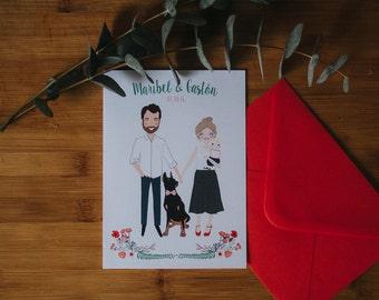 Custom Illustrated Wedding Invitation (print plus envelope)