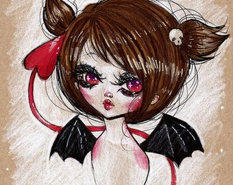 Fine Art Print, Original Illustration, Pop Surrealism [Devil]
