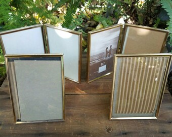 Set of Four Simple Gold Metal Brass 5x7 Photo Frames Holds 6 Pictures - Picture Frames all Match - Two Bifold Table Top Frames