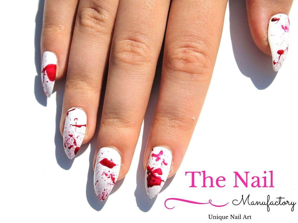 Blood Splatter Fake Nails - Halloween Nail Set - Handpainted False ...
