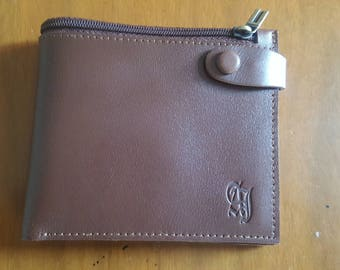 Brand New Brown Leather Wallet, Coin Pocket Wallet, zip wallet, mens leather wallet, slim coin wallet, genuine leather, card holder
