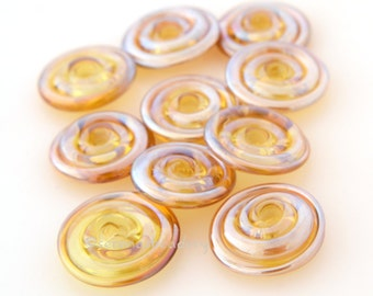 GOLD Amber LUSTER Spiral Wavy Beads Disks Lampwork Glass TANERES metallic - 14 mm