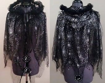 Tattered-Look Web Halloween Capelet Cape Black and Silver