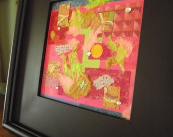 Art Mixed Media Framed Abstract Fiber Pink Black square textured paper girls room decor decoration wall hanging original art signed 12 inch