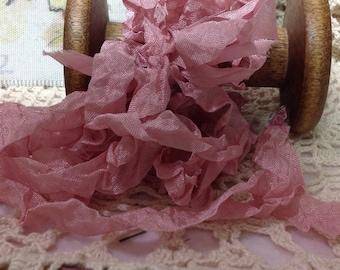 Hand Dyed Pink Seam binding Ribbon, Mauve Ribbon, Five Yards, Rayon Ribbon, Wedding Ribbon, GIft Wrap, Crinkled Ribbon