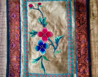 Vintage Chinese Embroidery on Silk, Antique Lined Panel, Floral,Wall Decore