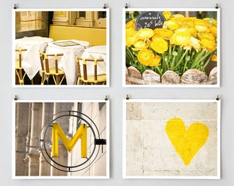 Fine Art Photography, Paris Gallery Wall Set Yellow Paris Photography,  Yellow Wall Art, Extra Large Wall Art Set