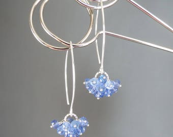 Tanzanite Cluster Drop Earrings. Genuine Faceted Gemstones. Sterling Silver Ear Wires. Blue Violet Colour. Argent Boucles d'oreille.
