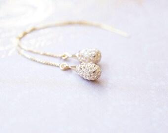 Earrings, Threader Earrings, Gold Earrings, Crystal Earrings, Pave Earrings, Dangle Earrings, Drop Earrings, Swarovski Earrings, Gift
