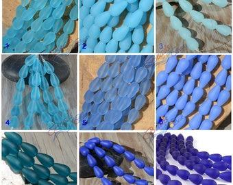 Sea Glass Teardrop Round Blue 6pcs (16x10mm) Cultured Sea Glass ~Jewelry Making~Beach Glass Beads