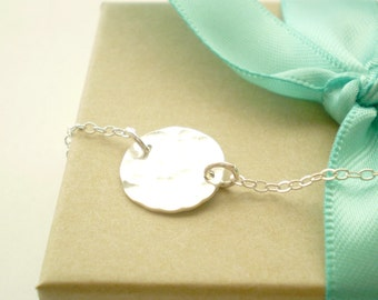 Beach Day - Hammered Sterling Silver Disc on Delicate Sterling Silver Chain