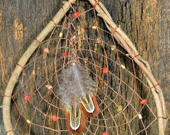 Large Natural Dream Catcher, Native American, Hand Woven with gemstones, Natural Rustic Home Decor from The Hidden Meadow